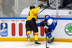 Sergei Malyavko of Belarus vs Tadej Cimzar of Slovenia during ice hockey match between Slovenia and Lithuania at IIHF World Championship DIV. I Group A Kazakhstan 2019, on May 5, 2019 in Barys Arena, Nur-Sultan, Kazakhstan. Photo by Matic Klansek Velej / Sportida