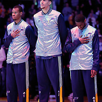 19 March 2015: Utah Jazz center Rudy Gobert (27) stands during the national anthem prior to the Utah Jazz 80-73 victory over the Los Angeles Lakers, at the Staples Center, Los Angeles, California, USA.