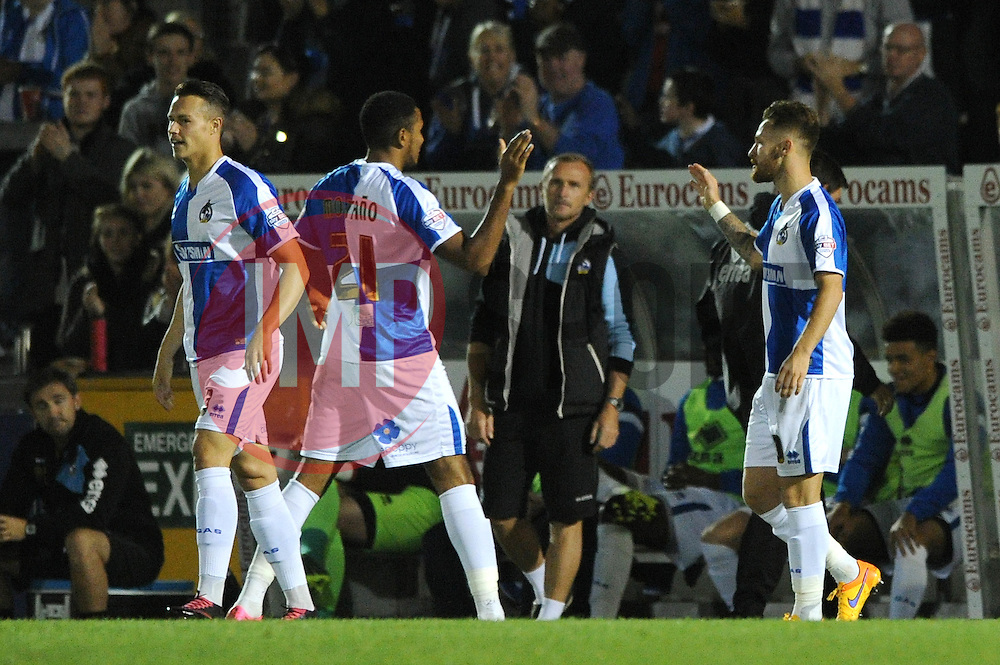 Matt Taylor of Bristol Rovers celebrates with his team mates after scoring - Mandatory byline: Dougie Allward/JMP - 07966 386802 - 06/10/2015 - FOOTBALL - Memorial Stadium - Bristol, England - Bristol Rovers v Wycombe Wanderers - JPT Trophy