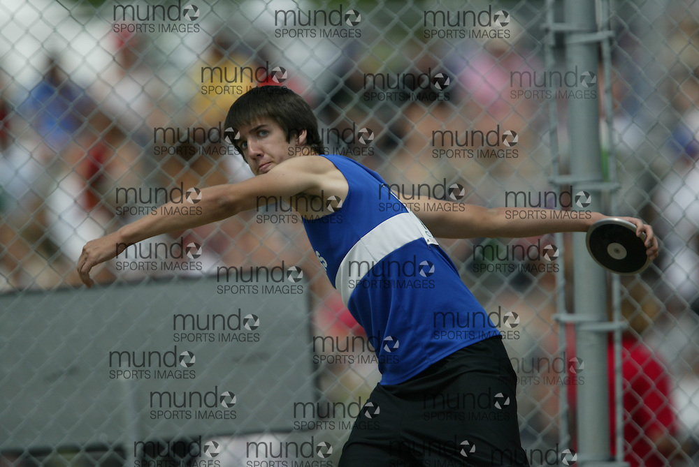 (London, Ontario}---05 June 2010) TC Fraser of Renfrew - Renfrew competing in the junior boys discus at the 2010 OFSAA Ontario High School Track and Field Championships in London, Ontario, June 05, 2010 . Photograph copyright Sean Burges / Mundo Sport Images, 2010.