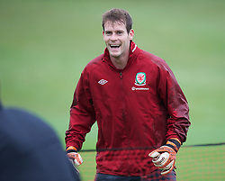 CARDIFF, WALES - Wednesday, October 10, 2012: Wales' goalkeeper Owain Fon Williams during a training session at the Vale of Glamorgan ahead of the 2014 FIFA World Cup Brazil Qualifying Group A match against Scotland. (Pic by David Rawcliffe/Propaganda)