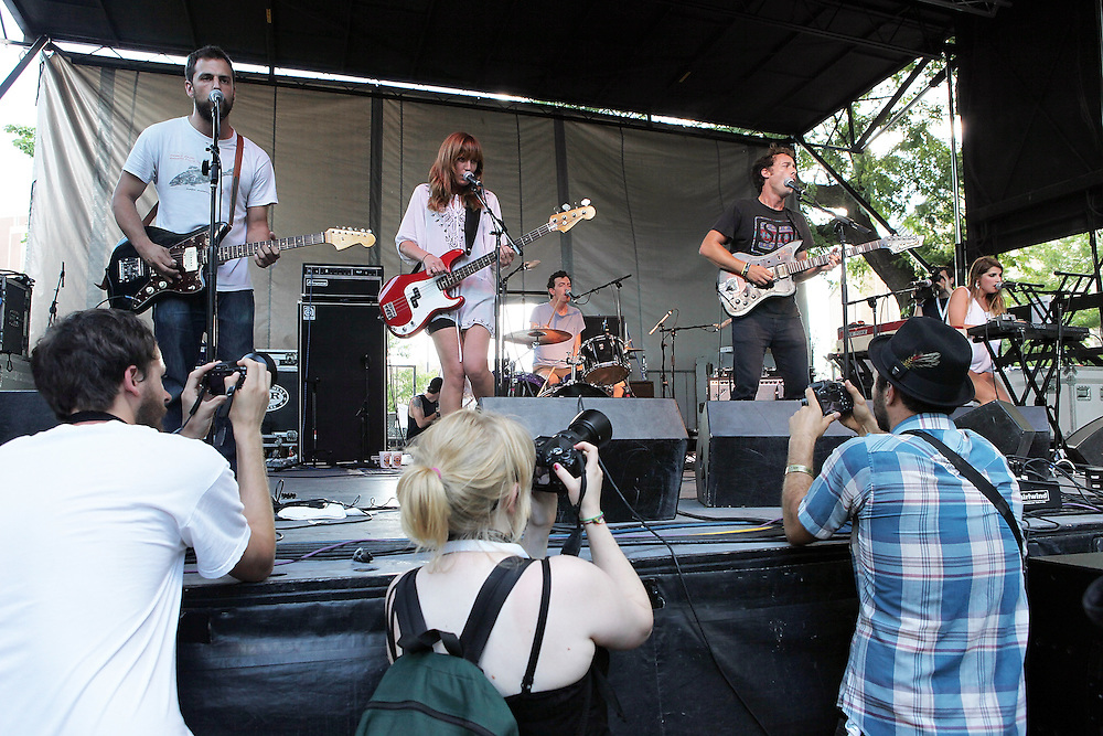 CHICAGO - JULY 18:  Michael Bloch, Jen Turner, Peter Hale, Luke Temple and Kristina Lieberson of Here We Go Magic perform onstage during the 2010 Pitchfork Music Festival at Union Park on July 18, 2010 in Chicago, Illinois.  (Photo by Roger Kisby/Getty Images)