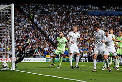 Pepe of Real Madrid watches a free kick go wide as Keylor Navas dives  - Mandatory byline: Rogan Thomson/JMP - 04/05/2016 - FOOTBALL - Santiago Bernabeu Stadium - Madrid, Spain - Real Madrid v Manchester City - UEFA Champions League Semi Finals: Second Leg.