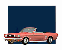 Few things define a spirit of adventure more accurately than a Mustang convertible. This digital painting brilliantly recreates that sense of adventure. You can easily imagine jumping behind the wheel of this car and traveling to some far-off destination. The Ford Mustang has always been a good car for people who are serious about cars .<br />