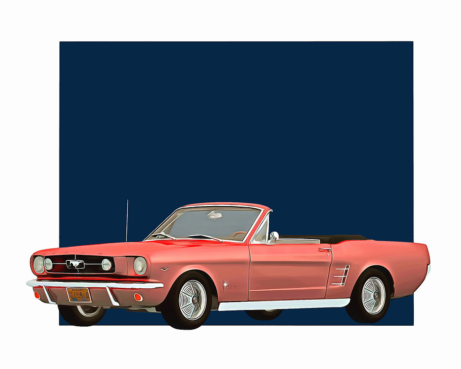 Few things define a spirit of adventure more accurately than a Mustang convertible. This digital painting brilliantly recreates that sense of adventure. You can easily imagine jumping behind the wheel of this car and traveling to some far-off destination. The Ford Mustang has always been a good car for people who are serious about cars .<br /> <br /> BUY THIS PRINT AT<br /> <br /> FINE ART AMERICA<br /> ENGLISH<br /> https://janke.pixels.com/featured/ford-mustang-1964-convertible-jan-keteleer.html<br /> <br /> WADM / OH MY PRINTS<br /> DUTCH / FRENCH / GERMAN<br /> https://www.werkaandemuur.nl/nl/shopwerk/Klassieke-auto---Oldtimer-Ford-Mustang-1964-convertible/435463/134