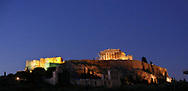 A dusk view of the Acropolis in Athens, Greece.<br />