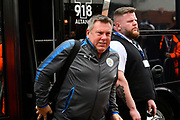 Leicester City manager Craig Shakespeare gets off the team bus on arrival for the Premier League match between Bournemouth and Leicester City at the Vitality Stadium, Bournemouth, England on 30 September 2017. Photo by Graham Hunt.