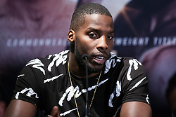 London, UK. 14th January, 2019. Cruiserweight Lawrence Okolie, who has held the WBA Continental Cruiserweight title since February 2018, speaks at the press conference for a Matchroom Boxing card at the 02 on 2nd February where he will fight on a bill headed by a European Super-Welterweight Championship contest between Sergio Garcia and Ted Cheeseman.