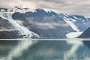 View of the Cascade, left, and Barry glaciers in Barry Arm in Harriman Fjord, near Whittier, Alaska