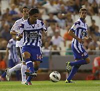 , SPAIN - AUGUST 26:  ABEL AGUILAR of Deportivo in action during the Liga BBVA match between Valencia CF and R.C Deportivo <br />