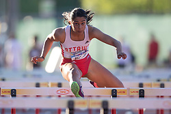 (Guelph, Canada---07 June 2019) Devyani Biswal running in the 100m hurdles at the 2019 Speed River Inferno Track and Field Festival held at Alumni Stadium at the University of Guelph. Copyright image 2019 Sean W Burges / Mundo Sport Images