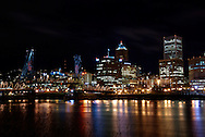 Portland and the Willamette river at night