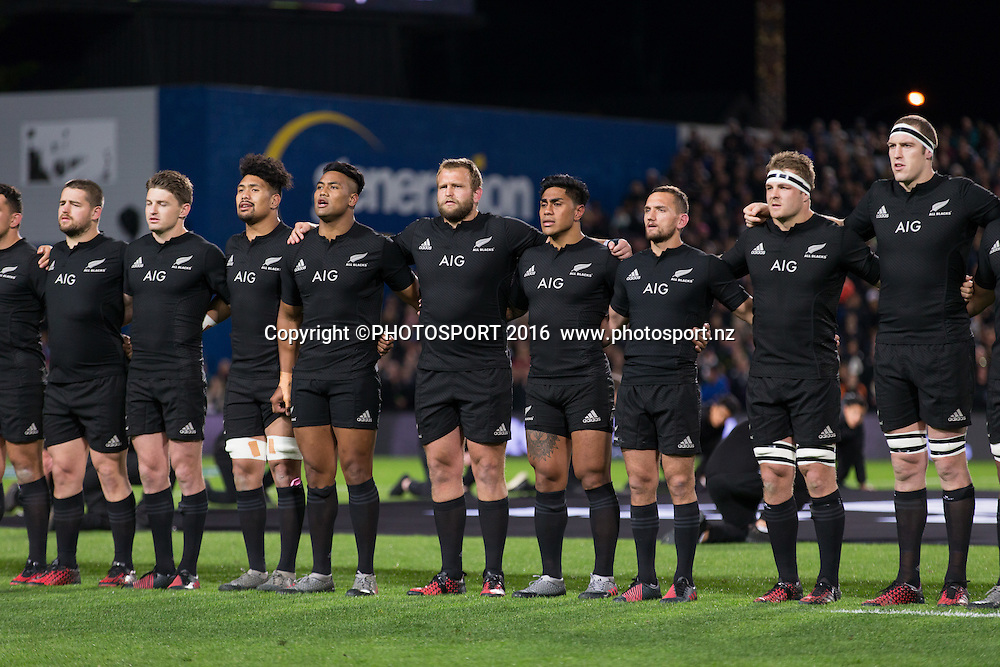 All Black side during national anthem before the New Zealand All Blacks v Argentina Pumas, won by NZ 57-22. The Rugby Championship. FMG Stadium, Hamilton. Saturday 10 September 2016. © Copyright Photo: Stephen Barker / www.Photosport.nz