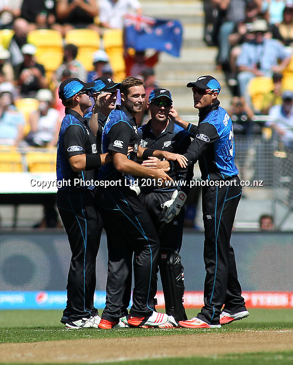 Black caps players celebrate a wicket to Tim Southee during the ICC Cricket World Cup match between New Zealand and England at Wellington Regional Stadium, New Zealand. Friday 20th February 2015. Photo.: Grant Down / www.photosport.co.nz