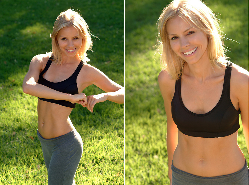 San Diego Fitness Photographer: Beautiful blond athlete excercising at park