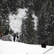 Winter Olympics, Vancouver, 2010.Giuliano Razzoli, Italy, winning the Gold Medal in  the Alpine Skiing, Men's Slalom at Whistler Creekside, Whistler, during the Vancouver Winter Olympics. 27th February 2010. Photo Tim Clayton