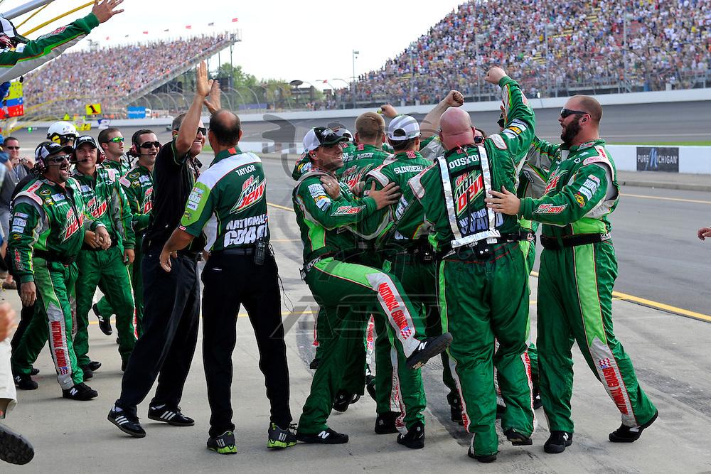 Brooklyn, MI - JUN 17, 2012: Dale Earnhardt, Jr. (88) wins the Quicken Loans 400 race at the Michigan International Speedway in Brooklyn, MI.