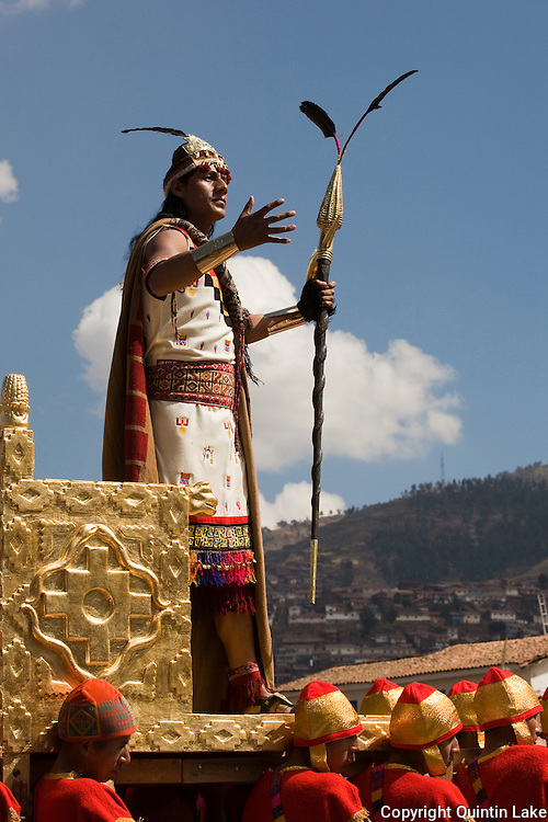 "The Sapa Inca stands in his golden chair as the highest authority from the Inti Raymi. Inti Raymi ""Festival of the Sun"", Plaza de Armas, Cusco, Peru."