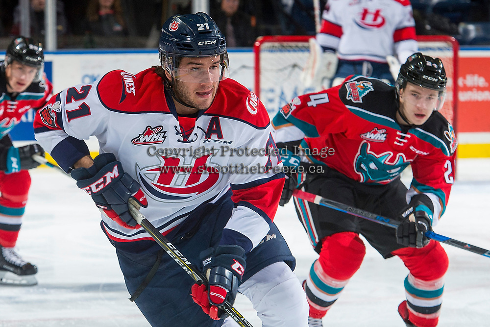 KELOWNA, CANADA - NOVEMBER 17: Ryan Vandervlis #21 of the Lethbridge Hurricanes skates with his tongue out against the Kelowna Rockets on November 17, 2017 at Prospera Place in Kelowna, British Columbia, Canada.  (Photo by Marissa Baecker/Shoot the Breeze)  *** Local Caption ***