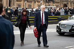 © Licensed to London News Pictures. 06/11/2018. London, UK. Laura Alvarez (left) and Leader of the Labour Party Jeremy Corbyn (right) arrives for a Service at St Margaret's Church, Westminster to mark the Centenary of the end of the First World War. Parliamentarians from the House of Commons and House of Lords gathered to remember the sacrifices of those parliamentarians, parliamentary officers and staff who gave their lives during the First World War, or who were injured. Photo credit : Tom Nicholson/LNP