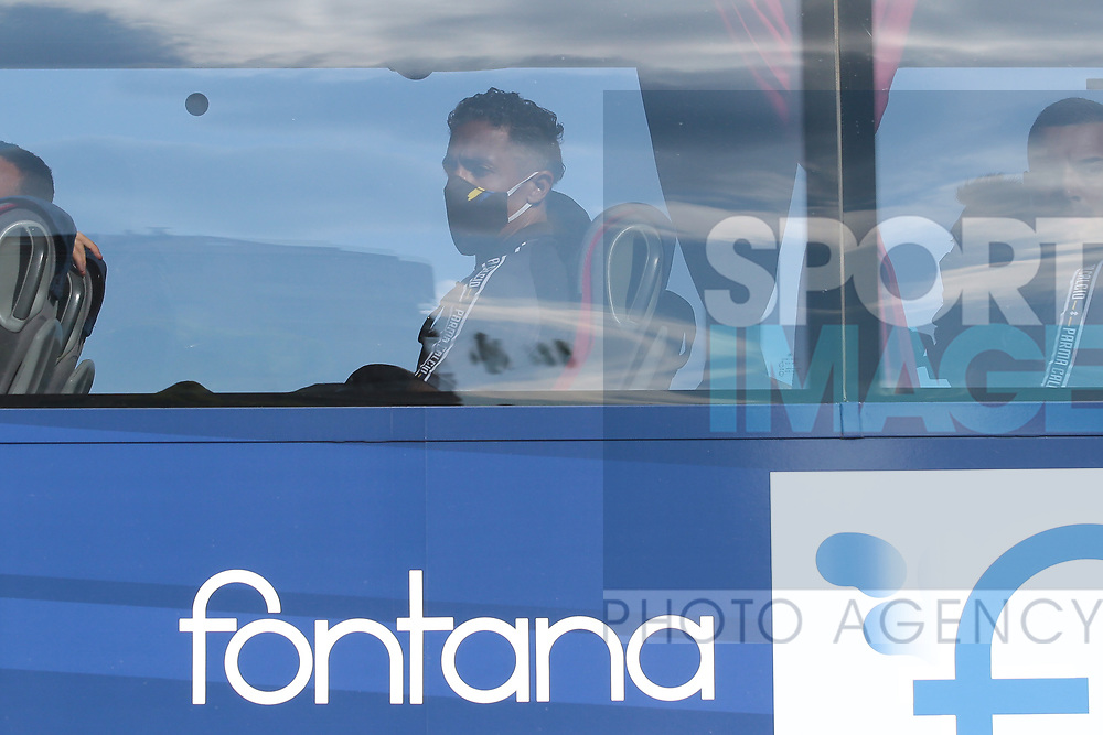 Parma Calcio's Portugese defender Bruno Alves pictured on the team bus wearing a face mask upon arrival at the stadium for the Serie A match at Stadio Grande Torino, Turin. Picture date: 20th June 2020. Picture credit should read: Jonathan Moscrop/Sportimage