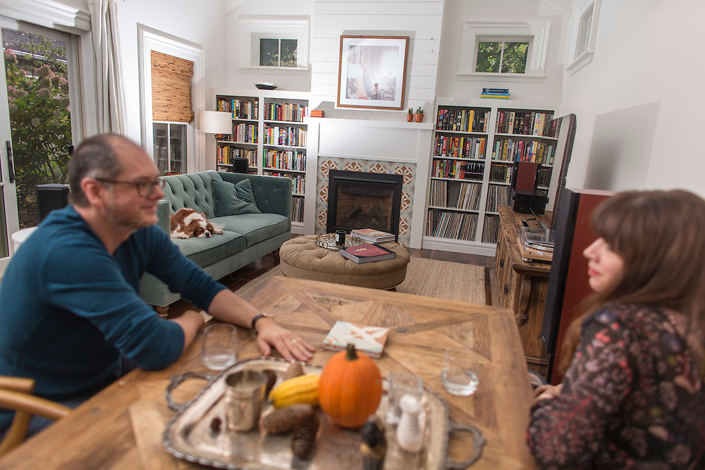 Stratford, Ontario ---2016-10-19--- Janet Hill sits with her husband John in the living room of their home in Stratford, Ontario, October 19, 2016.<br /> GEOFF ROBINS The Globe and Mail