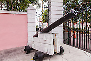 Canon in front of the Government House in Nassau , Bahamas.