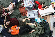 Earthquake refugees at a camp in the sports stadium in Mianyang, China.