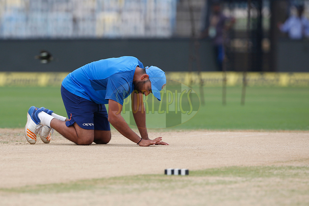 Rohit Sharma of India during the Indian practice sessions held at the M. A. Chidambaram Stadium in Chennai ahead of the 1st One Day International match.  16th September 2017<br /> <br /> Photo by Deepak Malik / BCCI / SPORTZPICS