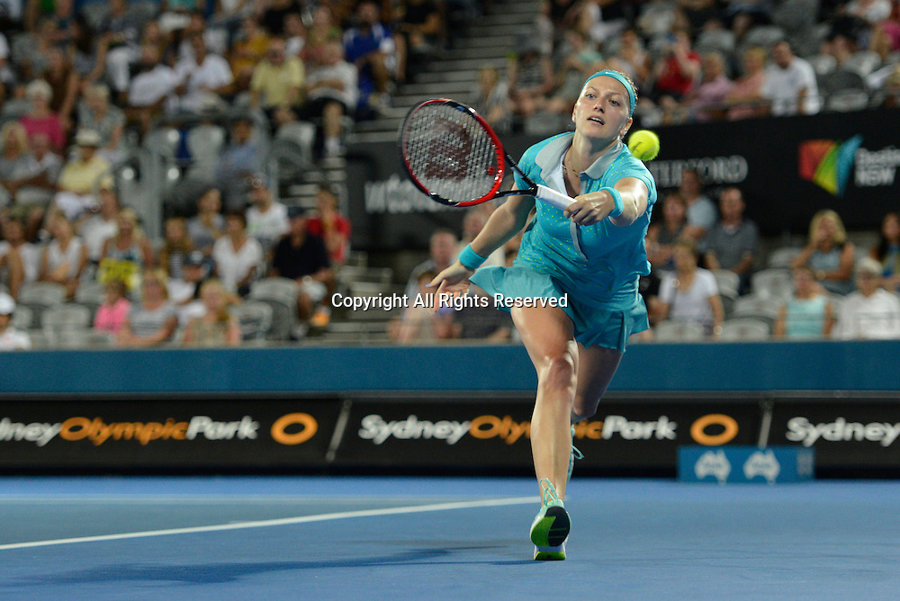 14.01.2015. Sydney, Australia. Apia Tennis International. Petra Kvitova (CZE)in action against Jarmila Gajdosova (AUS)
