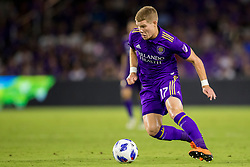 August 4, 2018 - Orlando, FL, U.S. - ORLANDO, FL - AUGUST 04: Orlando City forward Chris Mueller (17) with the ball during the soccer match between the Orlando City Lions and the New England Revolution on August 4, 2018 at Orlando City Stadium in Orlando FL. (Photo by Joe Petro/Icon Sportswire) (Credit Image: © Joe Petro/Icon SMI via ZUMA Press)