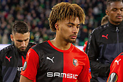 Sacha Boey (31) of Rennes during the Europa League match between Celtic and Rennes at Celtic Park, Glasgow, Scotland on 28 November 2019.