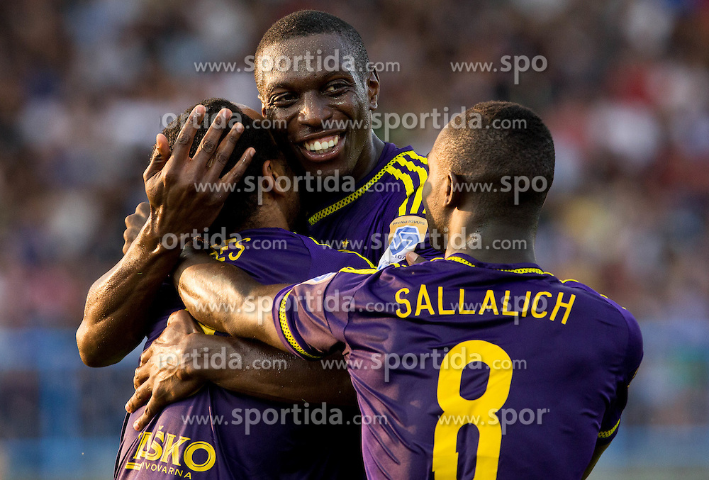 Marcos Tavares #9 of Maribor, Jean Philippe Mendy #14 of Maribor and Sintayehu Sallalich #8 of Maribor celebrate after Tavares scored second goal for Maribor during football match between ND Gorica and NK Maribor in 9th Round of Prva liga Telekom Slovenije 2015/16, on September 12, 2015, in Sports centrum Nova Gorica, Slovenia. Photo by Vid Ponikvar / Sportida