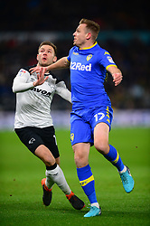 LAURENS DE BOCK  LEEDS UNITED HOLDS OF DERBY ANDREAS WEIMANN,  DERBY COUNTY, Derby County v Leeds United, Championship League Pride Park Tuesday 21st February 2018, Score 2-2, :Photo Mike Capps