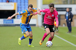 Harry Toffolo of Peterborough United takes on Shaun Whalley of Shrewsbury Town - Mandatory by-line: Joe Dent/JMP - 30/04/2016 - FOOTBALL - New Meadow - Shrewsbury, England - Shrewsbury Town v Peterborough United - Sky Bet League One