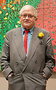 ".David Hockney stands in front of his painting called "" The arrival of Spring in Woldgate in East Yorkshire 2011 at The RAA on January 16th 2011...Photo Ki Price."