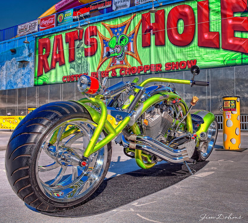 "Joe Palermo's ""Fatso"" bike represented the USA at the Daytona Beach Rat's Hole event in 2010."