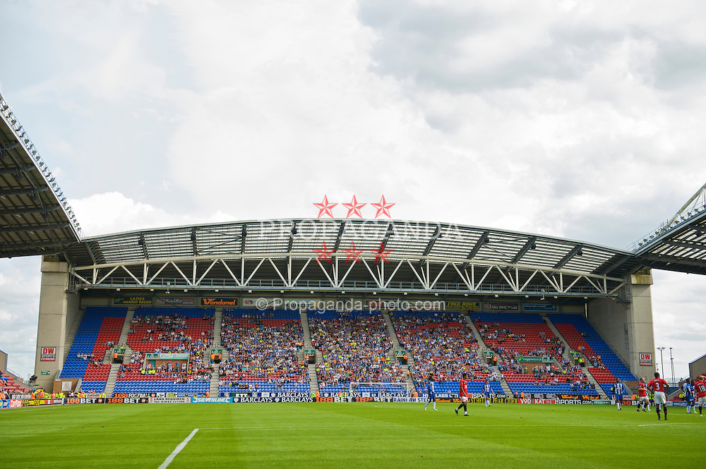 WIGAN, ENGLAND - Saturday, August 22, 2009: Empty seats as Manchester United fail to entice a crowd during the Premiership match against Wigan Athletic at the DW Stadium. (Photo by David Rawcliffe/Propaganda)