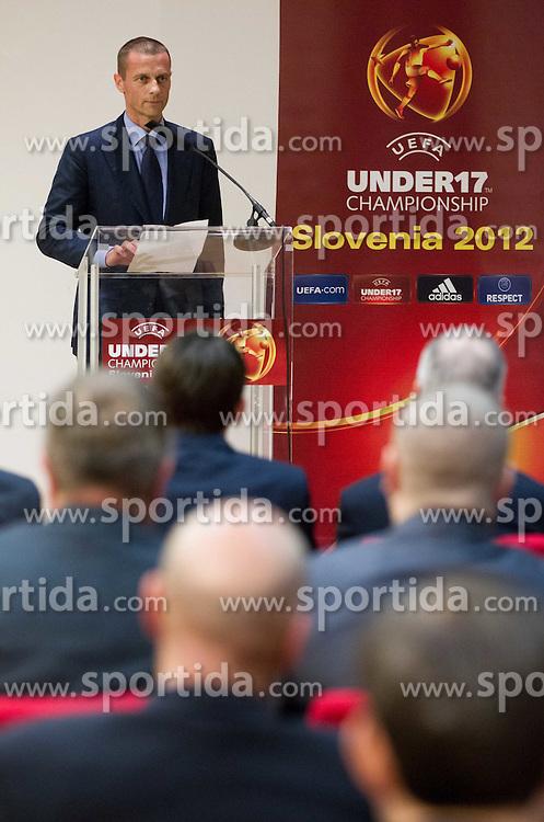 Aleksander Ceferin, president of NZS at Final Round Draw of 11th UEFA European Under-17 Championship 2011/12, on April 4, 2012, in Ljubljana, Slovenia. (Photo by Vid Ponikvar / Sportida.com)