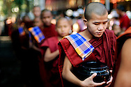 Burma/Myanmar, Amarapura. Novices from Maha Ganayon Kyaung staying in a row and waiting for their midday meal.