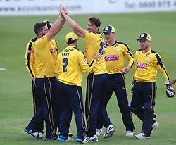 Jackson Bird of Hampshire celebrates with team mates after bowling out Michael Klinger of Gloucestershire for LBW  - Photo mandatory by-line: Dougie Allward/JMP - Mobile: 07966 386802 - 14/07/2015 - SPORT - Cricket - Cheltenham - Cheltenham College - Natwest T20 Blast