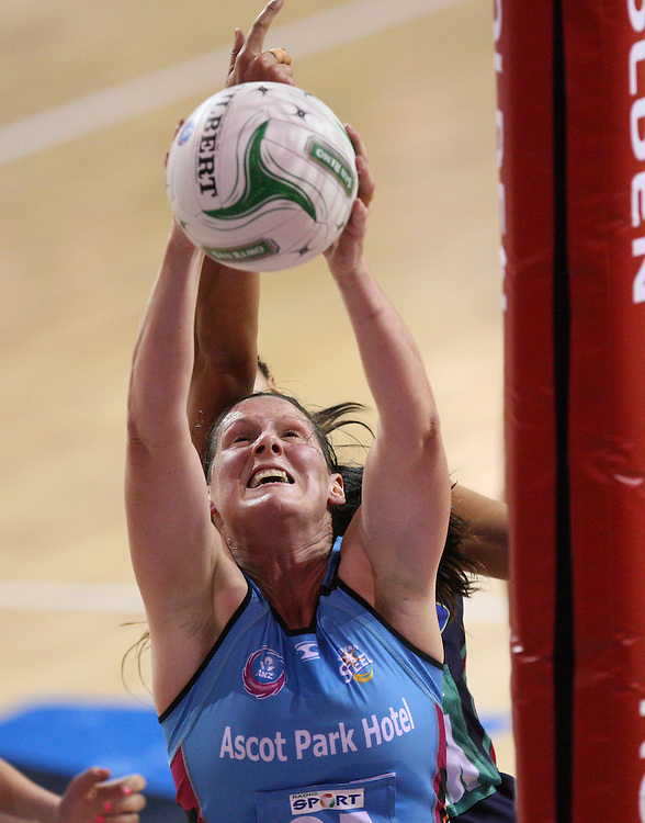 Steels Donna Wilkins grabs a rebound ahead of Vixens Geva Mentor in the ANZ Championship netball match at Invercargill Velodrome, Invercargill, New Zealand, Saturday, June 30, 2012. Credit:SNPA / Dianne Manson