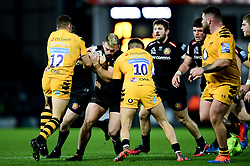 Luke Cowan-Dickie of Exeter Chiefs is challenged by Jimmy Gopperth of Wasps and Jacob Umaga of Wasps - Mandatory by-line: Ryan Hiscott/JMP - 30/11/2019 - RUGBY - Sandy Park - Exeter, England - Exeter Chiefs v Wasps - Gallagher Premiership Rugby