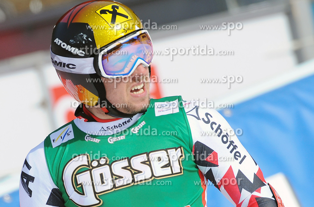 27.02.2016, Hannes Trinkl Rennstrecke, Hinterstoder, AUT, FIS Weltcup Ski Alpin, Hinterstoder, Super G, Herren, im Bild Marcel Hirscher (AUT) 3.Platz // Marcel Hirscher of Austria ( third place) reacts after his run of men's Super G of Hinterstoder FIS Ski Alpine World Cup at the Hannes Trinkl Rennstrecke in Hinterstoder, Austria on 2016/02/27. EXPA Pictures © 2016, PhotoCredit: EXPA/ Erich Spiess