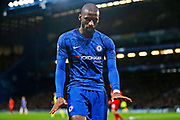 Portrait of Chelsea defender Antonio Rudiger in action during the Champions League match between Chelsea and Bayern Munich at Stamford Bridge, London, England on 25 February 2020.