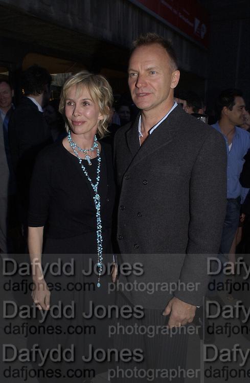 Sting, ( Gordon Matthew Sumner)  and Trudie Style. Sam Taylor Wood. Hayward Gallery. 24 April 2002. © Copyright Photograph by Dafydd Jones 66 Stockwell Park Rd. London SW9 0DA Tel 020 7733 0108 www.dafjones.com