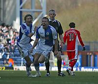 Photo: Andrew Unwin.<br />Blackburn Rovers v Middlesbrough. The Barclays Premiership. 18/03/2006.<br />Blackburn's Craig Bellamy (C) celebrates scoring his team's first goal.