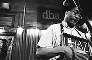 NEW ORLEANS, LA – OCTOBER 28, 2009: New Orleans acoustic blues musician Washboard Chaz Leary performs at DBA on Frechnmen Street.