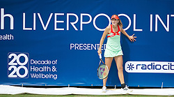 LIVERPOOL, ENGLAND - Wednesday, June 20, 2012: Belinda Bencic (CHE) plays an exhibition women's doubles match during a kids' day at the Medicash Liverpool International Tennis Tournament at Calderstones Park. (Pic by David Rawcliffe/Propaganda)