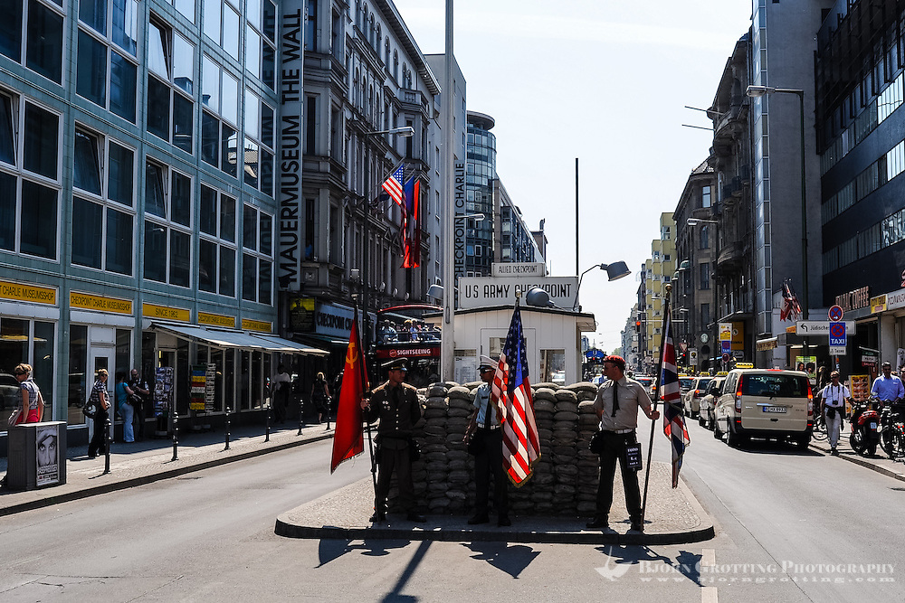 Berlin, Germany. Checkpoint Charlie was the name of the best-known Berlin Wall crossing point between East Berlin and West Berlin During the Cold War.